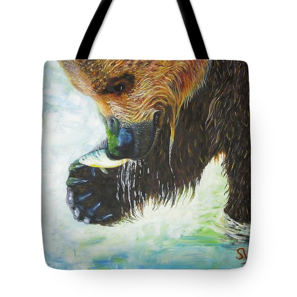 Bear Fishing Tote Bag