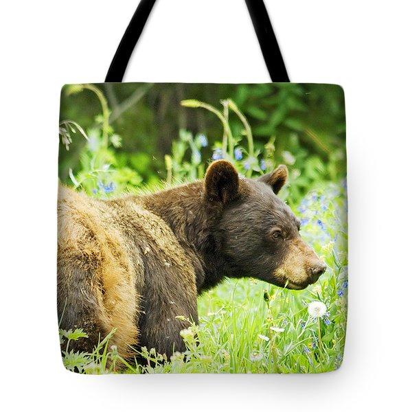 Bear In Flowers Tote Bag