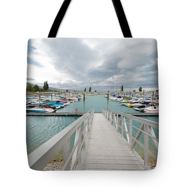 Bear Lake Marina Tote Bag