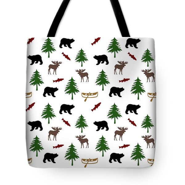 Tote Bag featuring the mixed media Bear Moose Pattern by Christina Rollo