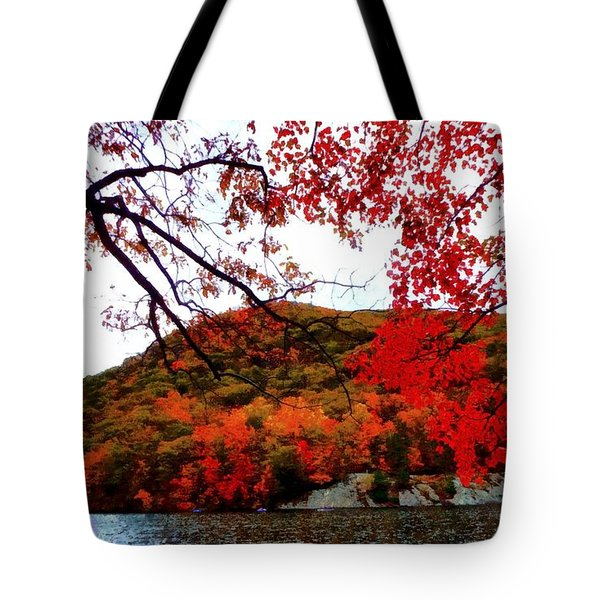 Tote Bag featuring the photograph Bear Mountain Hessian Lake Autumn by Janine Riley