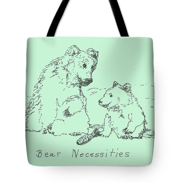 Tote Bag featuring the drawing Bear Necessities by Denise Fulmer