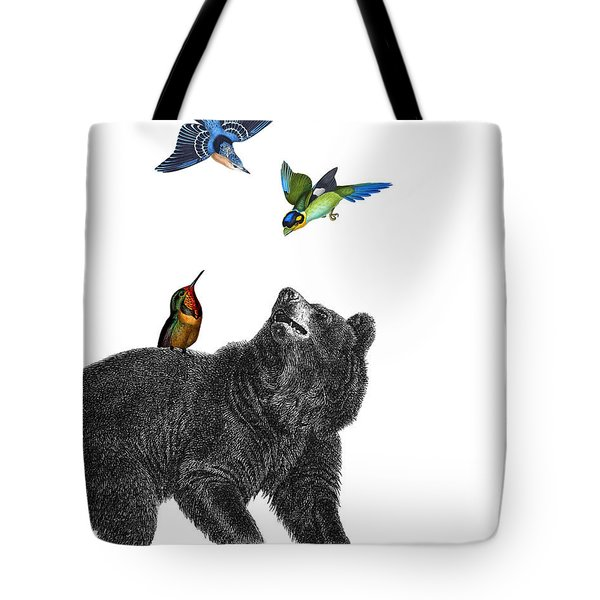 Bear With Birds Antique Illustration Tote Bag