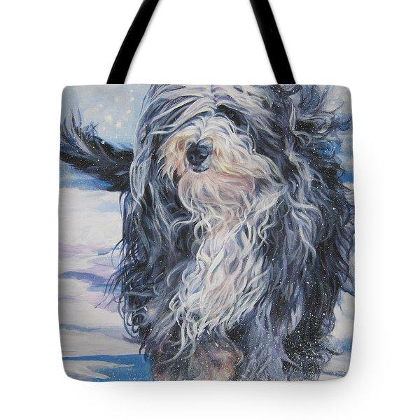 Bearded Collie In Snow Tote Bag by Lee Ann Shepard