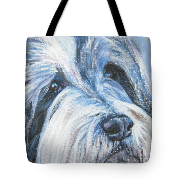 Bearded Collie Up Close In Snow Tote Bag by Lee Ann Shepard