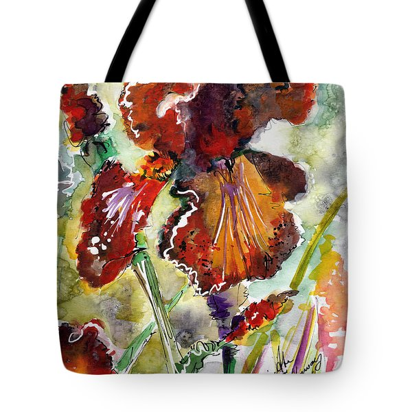 Bearded Iris Brown Sally Watercolor Tote Bag
