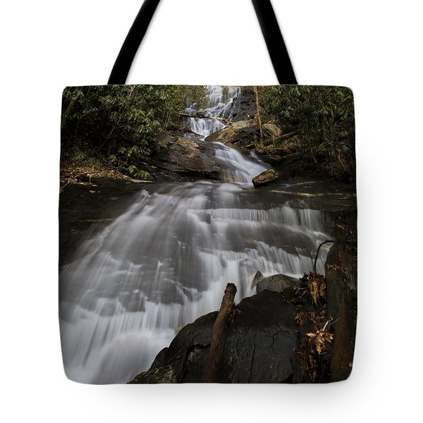 Tote Bag featuring the photograph Bearden Falls Vertical by Barbara Bowen