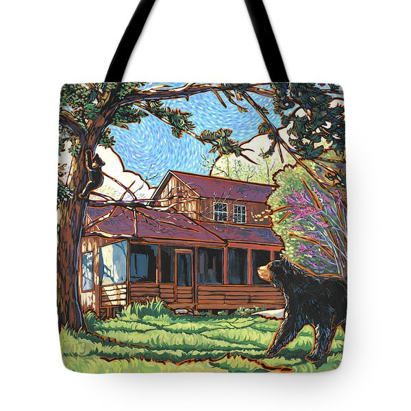 Bears At Barton Cabin Tote Bag by Nadi Spencer