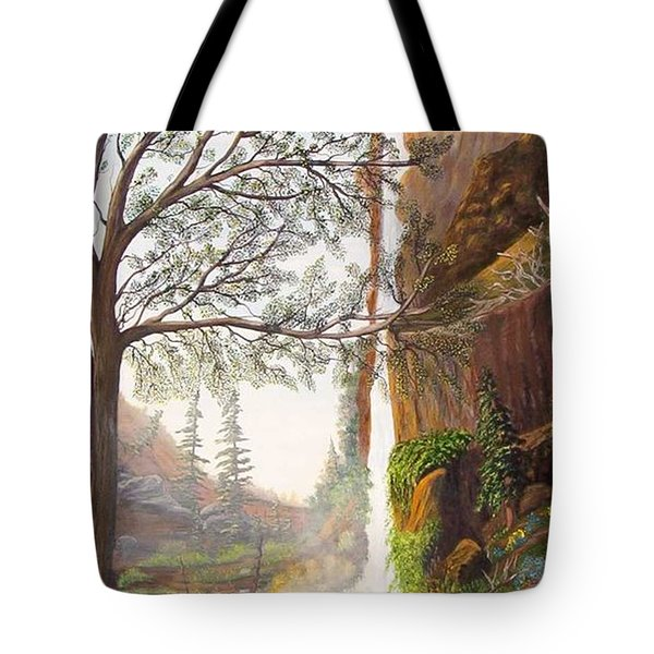Bears At Waterfall Tote Bag