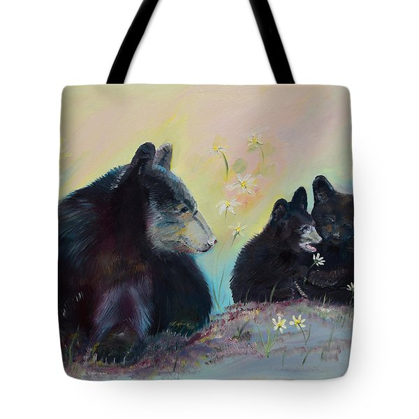 Tote Bag featuring the painting Bears Frolicking In Spring by Jan Dappen