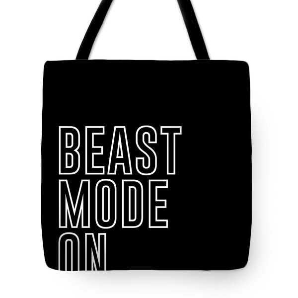 Beast Mode On - Gym Quotes - Minimalist Print - Typography - Quote Poster Tote Bag