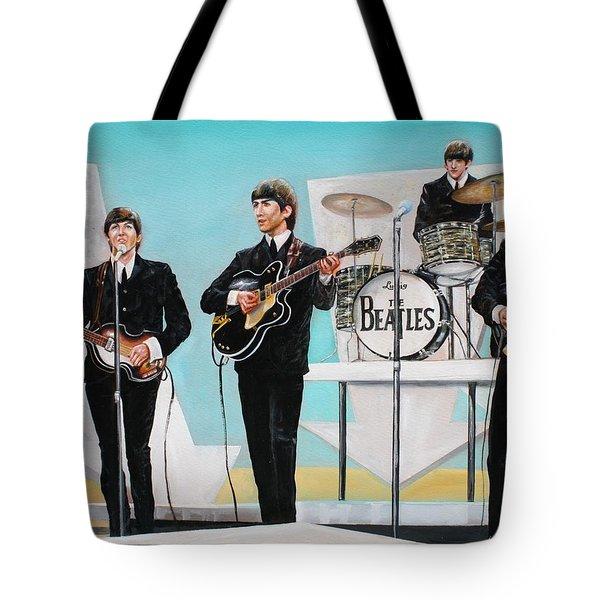 Beatles On Ed Sullivan Tote Bag by Leland Castro