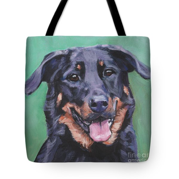 Tote Bag featuring the painting Beauceron Portrait by Lee Ann Shepard