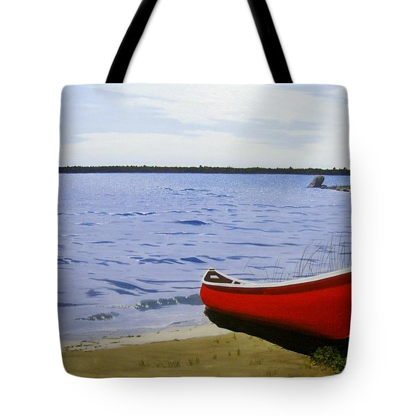Beautiful Red Canoe Tote Bag