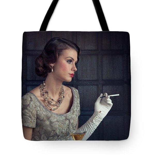 Beautiful 1930s Woman With Cocktail And Cigarette Tote Bag