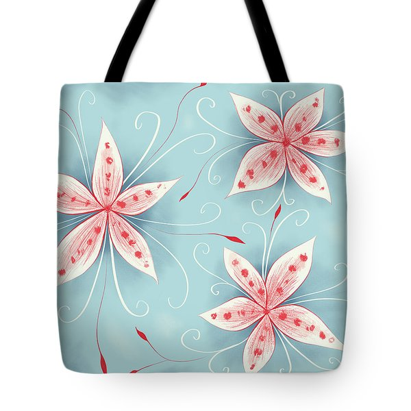 Beautiful Abstract White Red Flowers Tote Bag
