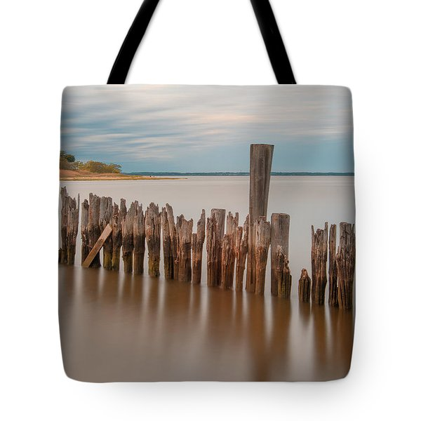 Tote Bag featuring the photograph Beautiful Aging Pilings In Keyport by Gary Slawsky