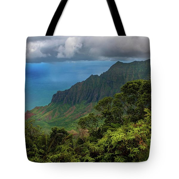 Tote Bag featuring the photograph Beautiful And Illusive Kalalau Valley by John Hight