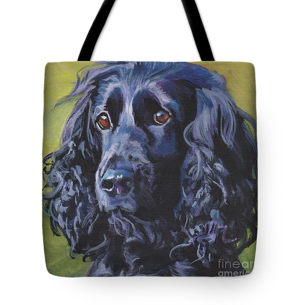 Tote Bag featuring the painting Beautiful Black English Cocker Spaniel by Lee Ann Shepard