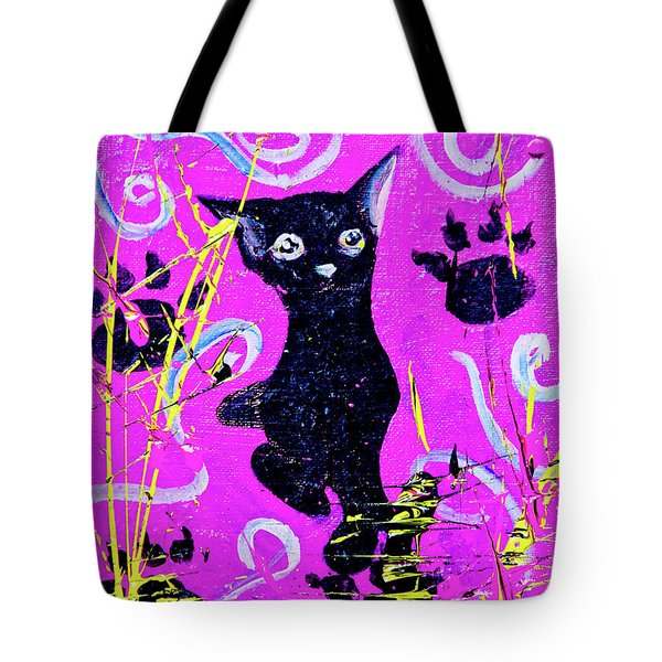 Tote Bag featuring the mixed media Beautiful Black Pussy by eVol i