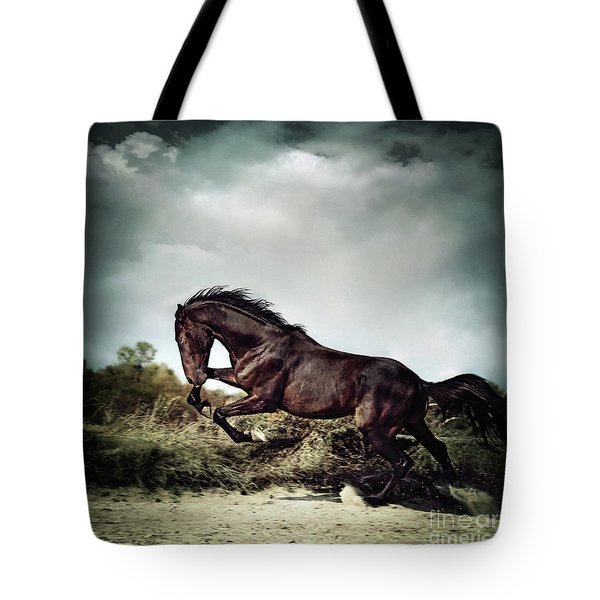 Beautiful Black Stallion Horse Running On The Stormy Sky Tote Bag