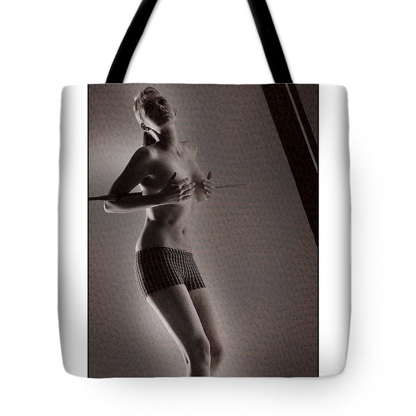 Beautiful Blonde Holding Her Breasts Tote Bag