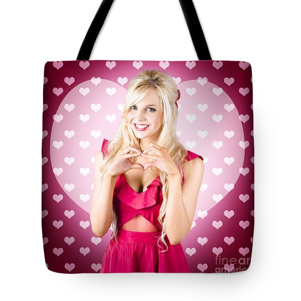 Beautiful Blonde Woman Gesturing Heart Shape Tote Bag by Jorgo Photography - Wall Art Gallery