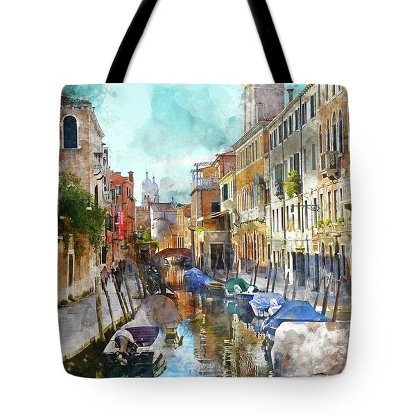 Beautiful Boats In Venice, Italy Tote Bag