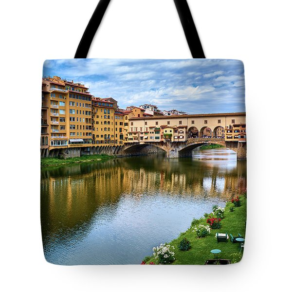 Ponte Vecchio On A Spring Day In Florence, Italy Tote Bag