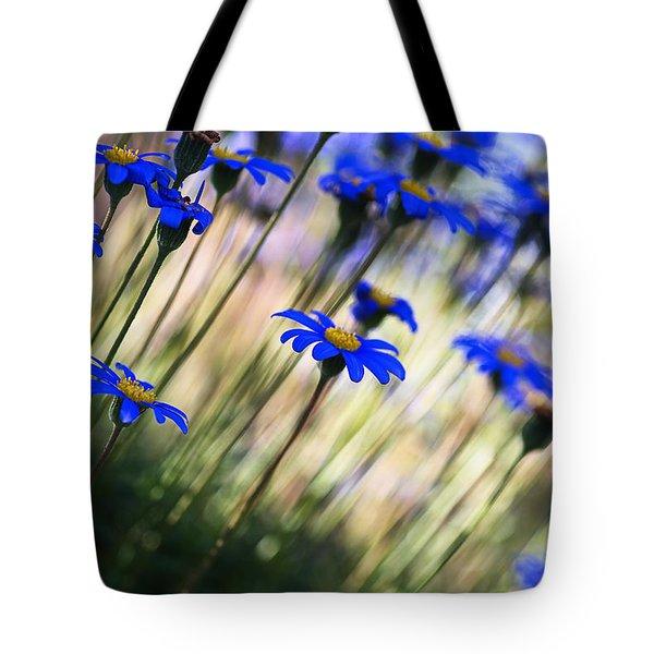 Beautiful Dancing Blue Flowers Romance Tote Bag