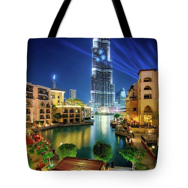 Beautiful Downtown Area In Dubai At Night, Dubai, United Arab Emirates Tote Bag