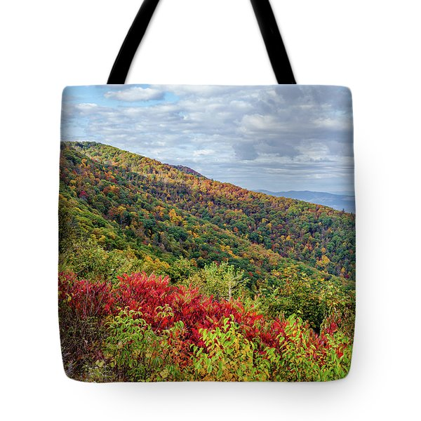 Tote Bag featuring the photograph Beautiful Fall Foliage In The Blue Ridge Mountains by Lori Coleman