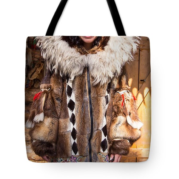 Beautiful Fashioned Coat With Wolverine Hood. Tote Bag by Allan Levin