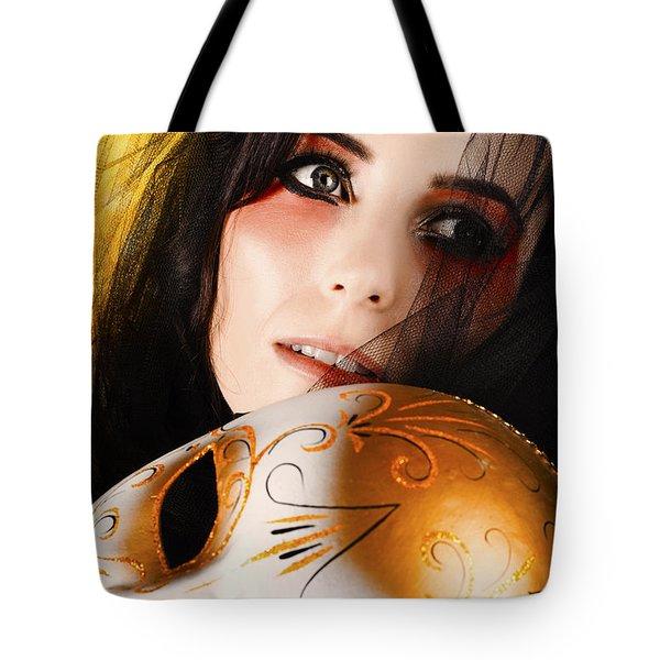 Beautiful Female Performer Face. Perfect Makeup Tote Bag