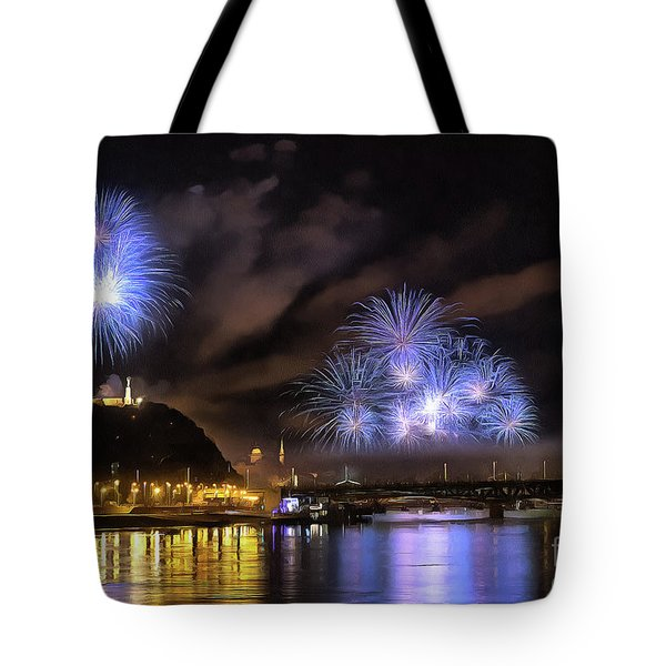 Beautiful Fireworks In Budapest Hungary Tote Bag