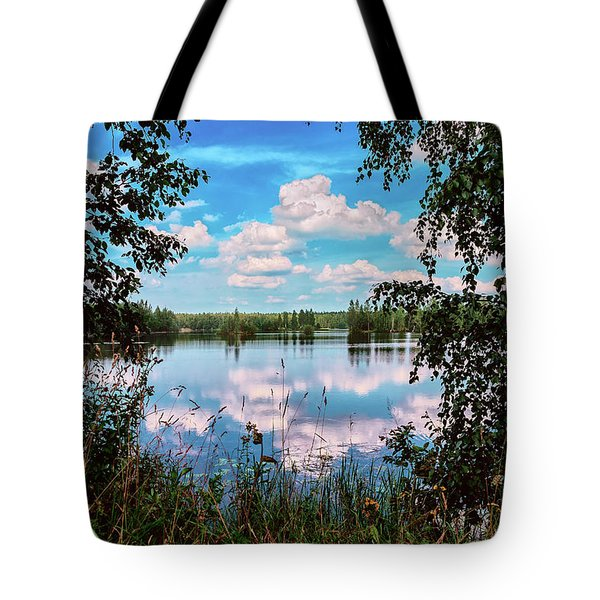 beautiful forest lake in Sunny summer day Tote Bag