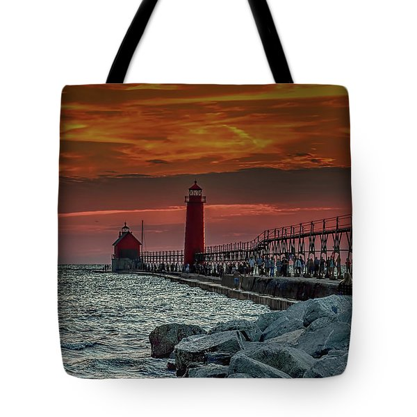 Sunset At Grand Haven Pier Tote Bag