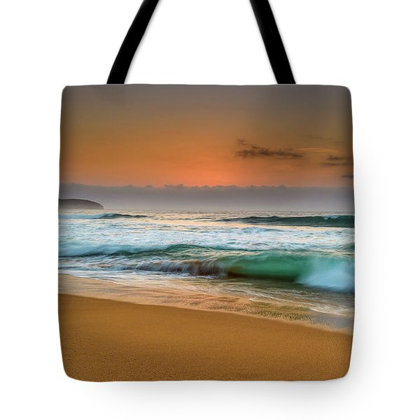 Beautiful Hazy Sunrise Seascape  Tote Bag