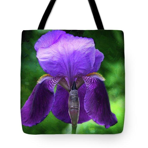 Beautiful Iris With Texture Tote Bag