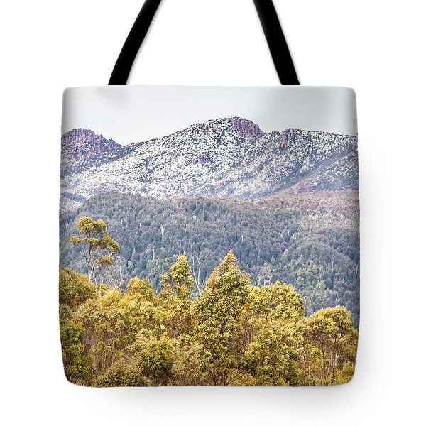 Beautiful Landscape With Partly Snowed Mountain  Tote Bag