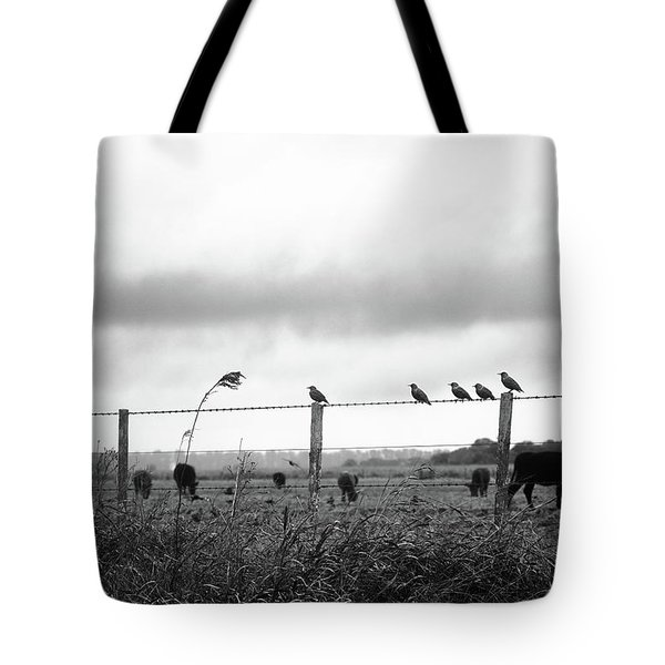 Beautiful Little Birds On Fence Tote Bag