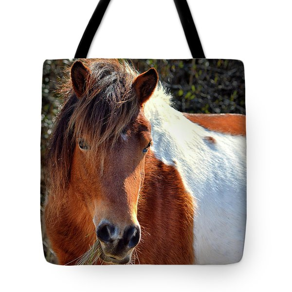 Tote Bag featuring the photograph Beautiful Mare Ms. Macky by Assateague Pony Photography