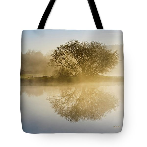 Tote Bag featuring the photograph Beautiful Misty River Sunrise by Christina Rollo