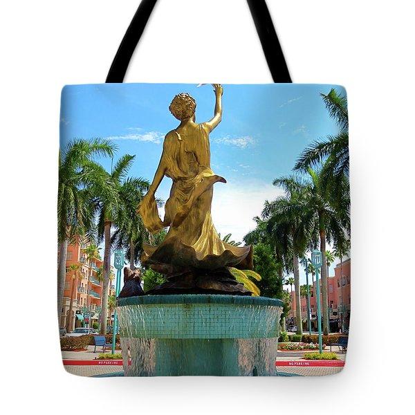 Beautiful Mizner Park In Boca Raton, Florida. Tote Bag