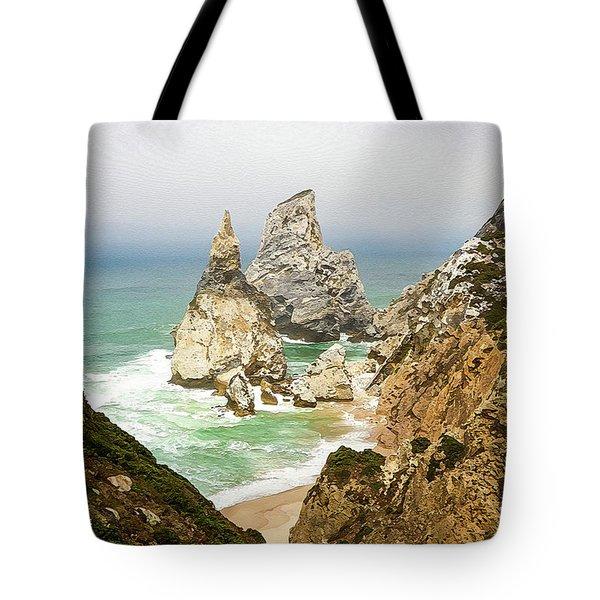 Beautiful Praia Da Ursa In Portugal Tote Bag