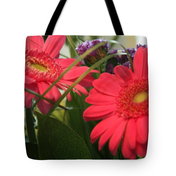 Tote Bag featuring the photograph Beautiful Red Daisies by Karen Nicholson