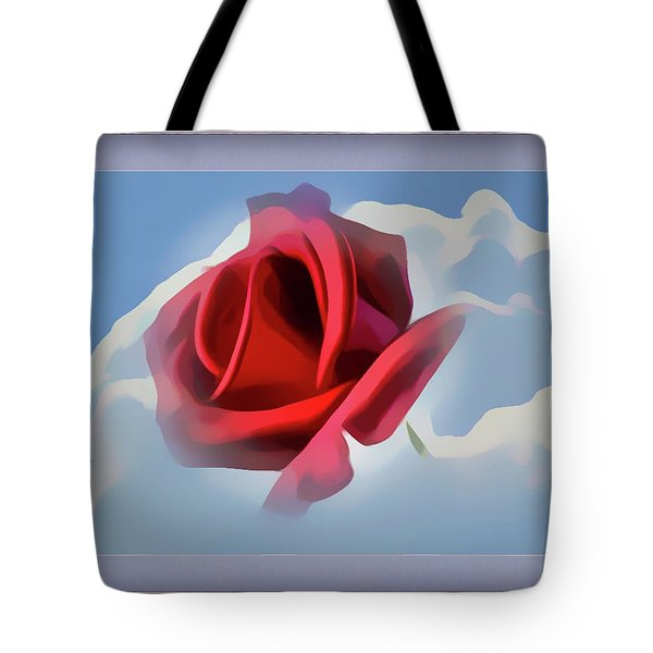 Beautiful Red Rose Cuddled By Cumulus Tote Bag