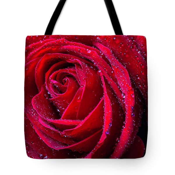 Beautiful Red Rose With Dew Tote Bag