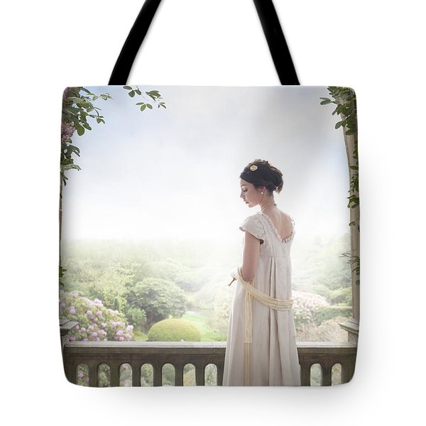 Beautiful Regency Woman Beneath A Wisteria Arch Tote Bag
