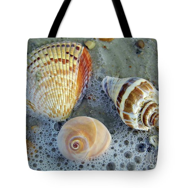 Beautiful Shells In The Surf Tote Bag